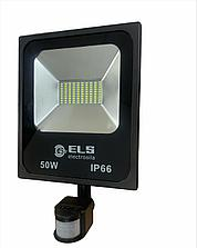 Прожектор светодиод. 50W 6500K IP65 с датчиком  ELS