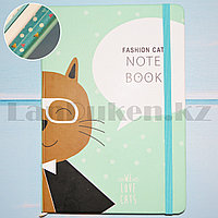 Блокнот в клеточку с Котом в очках Fashion Cat 21 на 14.5 голубой