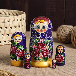 """Матрешка 5-ти кукольная """"Валерия"""" розы, 15 см, ручная роспись"""