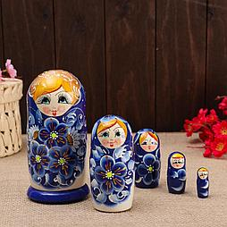 """Матрёшка 5-ти кукольная """"Нина"""" синяя , 14-15см, ручная роспись."""