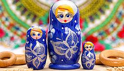Матрёшка 3-х кукольная «Бабочка», синяя, 11 см