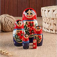 Матрёшка «Василиса», красно-розовый микс, 5 кукольная, 12 см, ручная работа