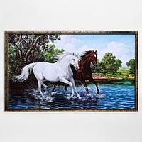 """Картина """"Пара лошадей"""" 66х106см рамка микс"""