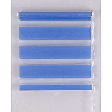 Рулонная штора «День и Ночь», размер 120х160 см, цвет синий