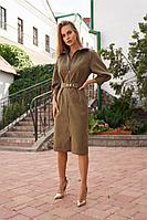 Женское осеннее джинсовое зеленое деловое платье Vesnaletto 2719-1 44р.