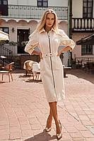 Женское осеннее джинсовое белое деловое платье Vesnaletto 2719-2 44р.