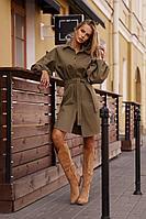 Женское осеннее джинсовое коричневое платье Vesnaletto 2750-1 44р.