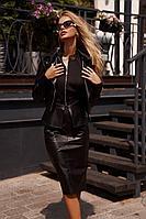 Женская осенняя кожаная черная жилет и куртка и юбка Vesnaletto 2759 42р.