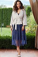 Женский осенний кружевной нарядный юбочный костюм Teffi Style L-1540 жемчуг-синий 48р.