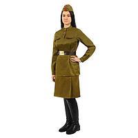 """Костюм""""Военного""""женский с пилоткой(гимнастерка,юбка,ремень,пилотка)р-р52рост170"""
