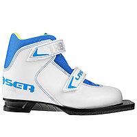 Ботинки лыжные TREK Laser NN75 ИК, цвет белый, лого синий, размер 33