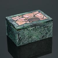 Шкатулка 'Сундук', малая, 10х7х6,5 см, змеевик, родонит