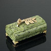 Шкатулка 'Рябинка', со съемной крышкой, 14,5х7,5х8 см, змеевик