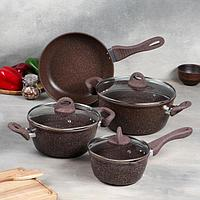 Набор посуды, 4 предмета кастрюля 3,5 л, сотейник 1,5 л, ковш 0,8 л, сковорода 24 см