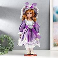Кукла коллекционная керамика 'Малышка Лида в фиолетовом платьице' 40 см