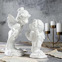 Статуэтка 'Ангел и мотылёк', 2 шт, белая, 29 см