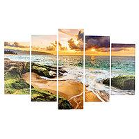 Модульная картина 'Закат на берегу моря' (2-25х50, 2-25х67, 25х80 см) 80х140 см