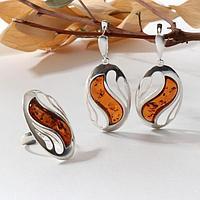 Гарнитур посеребрение 2 предмета серьги, кольцо 'Янтарь' волна, цвет коньячный, 19 размер