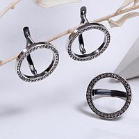 Гарнитур посеребрение 2 предмета серьги, кольцо 'Круг', цвет белый, 17 размер