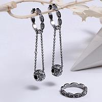 Гарнитур посеребрение 2 предмета серьги, кольцо 'Шарм', цвет белый, 17 размер