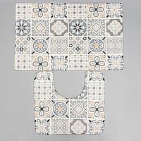 Набор ковриков для ванной и туалета SAVANNA 'Мозаика', 2 шт 50x80 см, 40x50 см