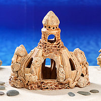 Декорация для аквариума 'Замок с рельефной башней', 12 х 19 х 19 см