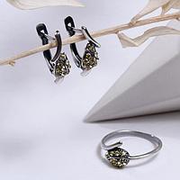 Гарнитур посеребрение 2 предмета серьги, кольцо 'Лист', цвет жёлтый, 17 размер