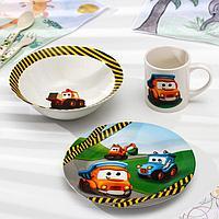 Набор детской посуды Доляна 'Машинки', 3 предмета миска 520 мл, тарелка 19 см, кружка 220 мл
