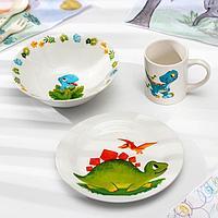 Набор детской посуды Доляна 'Дракоша', 3 предмета миска 520 мл, тарелка 19 см, кружка 220 мл