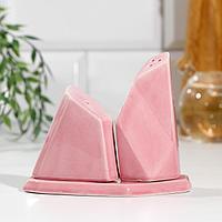 Набор солонка и перечница на подставке 'Геометрия', розовый, 13,5 х 10,5 см