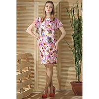 Платье женское, цвет розовый/белый, размер 50