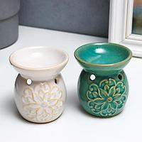 Аромалампа керамика 'Цветок и завитки' МИКС 7,5х7х7 см