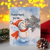 Брошь новогодняя 'Снежинка', цвет белый в серебре