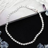 Браслет со стразами 'Лёд' элегантность, 1 ряд, цвет белый в серебре, 18см