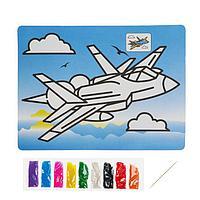 Фреска с цветным основанием 'Истребитель' 9 цветов песка по 2 г