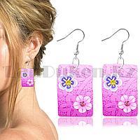 Серьги с гавайскими цветочками прямоугольные в розовых оттенках