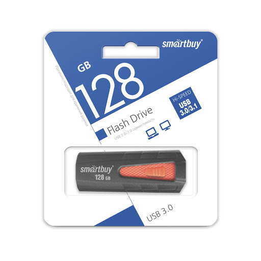 USB 3.0 накопитель Smartbuy 128GB IRON Black/Red