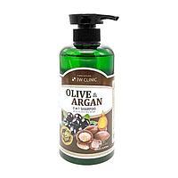 3W CLINIC Olive&Argan 2in1 Shampoo Шампунь для поврежденных волос с Аргановым маслом и маслом Оливы