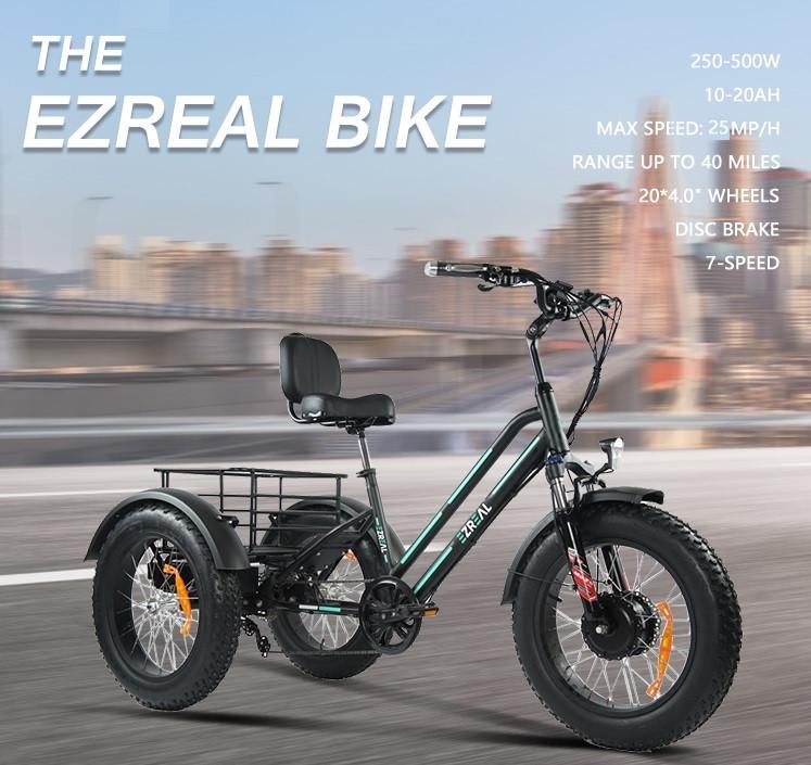 """Электровелосипед Fat Bike, трехколесный 48v 500w (max 1000w), аккум. Li-ion 48v 13A/H. Колеса 20*4""""."""