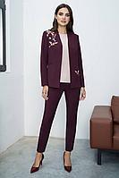 Женский осенний шифоновый красный деловой нарядный деловой костюм Urs 21-638-1 44р.