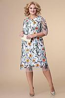 Женское осеннее нарядное большого размера платье Romanovich Style 1-2181 белый/оранж 54р.