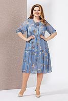 Женское летнее шифоновое голубое большого размера платье Mira Fashion 4978 50р.