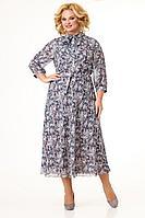 Женское осеннее шифоновое большого размера платье Slaviaelit 451 кофе 50р.