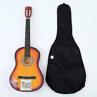Набор для начинающего гитариста, санберст классическая гитара, чехол, струны
