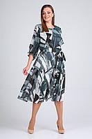 Женское осеннее шифоновое большого размера платье ELGA 01-710 серо-голубой 54р.