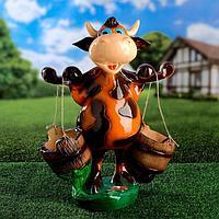 """Садовая фигура """"Корова с ведрами"""", бежевая, 47 см"""