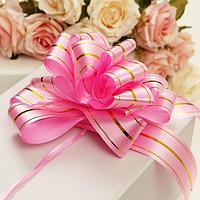 Бант-шар 5 'Золотые полосы', цвет розовый (комплект из 20 шт.)