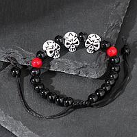 Браслет 'Череп мини' красные бусины, цвет чёрно-белый, d6