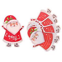 Шильдик декоративный на подарок 'Дедушка Мороз', 6,5 x 9,1 см (комплект из 25 шт.)