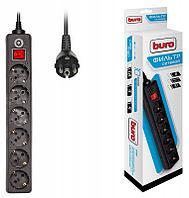 Сетевой фильтр Buro 600SH-5-B 5м 10A/2.2кВт (6 розеток) черный (коробка)